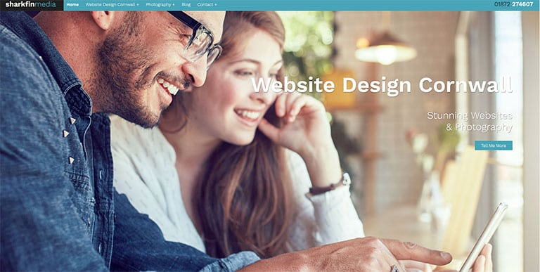 Sharkfin Media Home Page - Web Design Cornwall